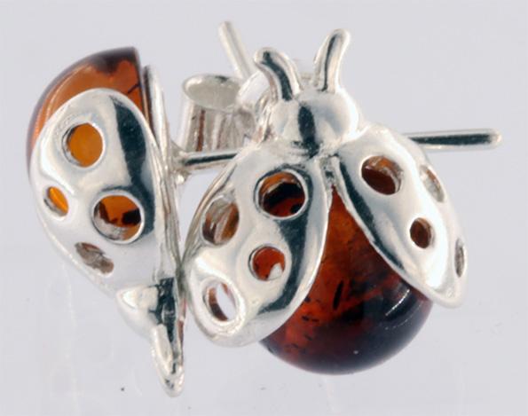 Echte Bernstein Marienkäfer Ohrstecker Cognacfarbig 925 Sterling Silber Fassung Oben BSOR04