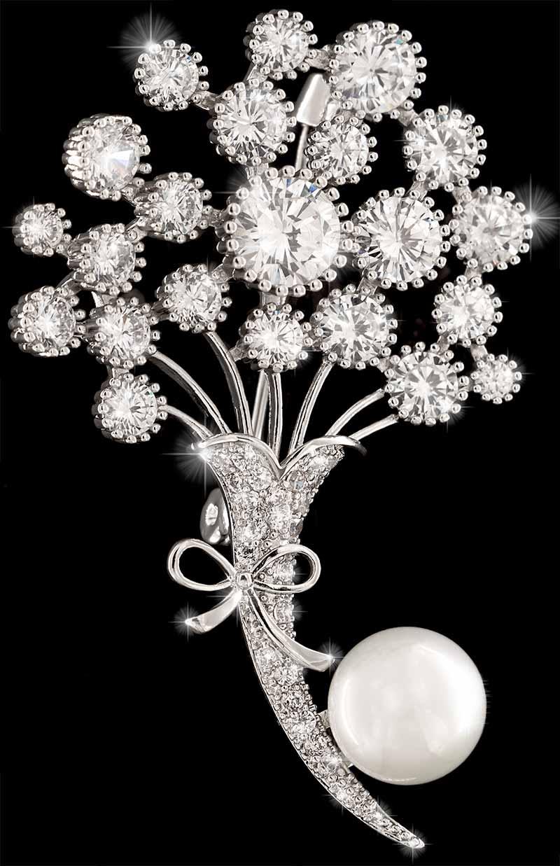 Brosche Blumenstrauß silberfarben mit einer Perle und vielen weissen Strass Steinen BR019 oben