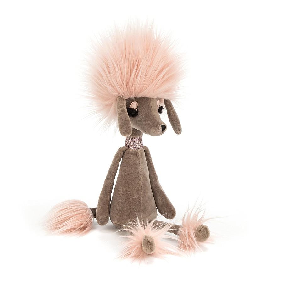 Bitte begrüßen Sie Swellegant Penelope Pudel! Diese Mokka-Süße ist lidnschaftlich gekleidet und sogar ihre Augen sind auf den Punkt! Ihre Candyfloss-Haare, Handgelenksmanschetten und Stiefelüberzüge sehen auf ihrem Kakaopelz göttlich aus. Sie trägt sogar ihren funkelnden rosa Kragen! Tanze mit Penelope und wackle mit Ihren Ohren!