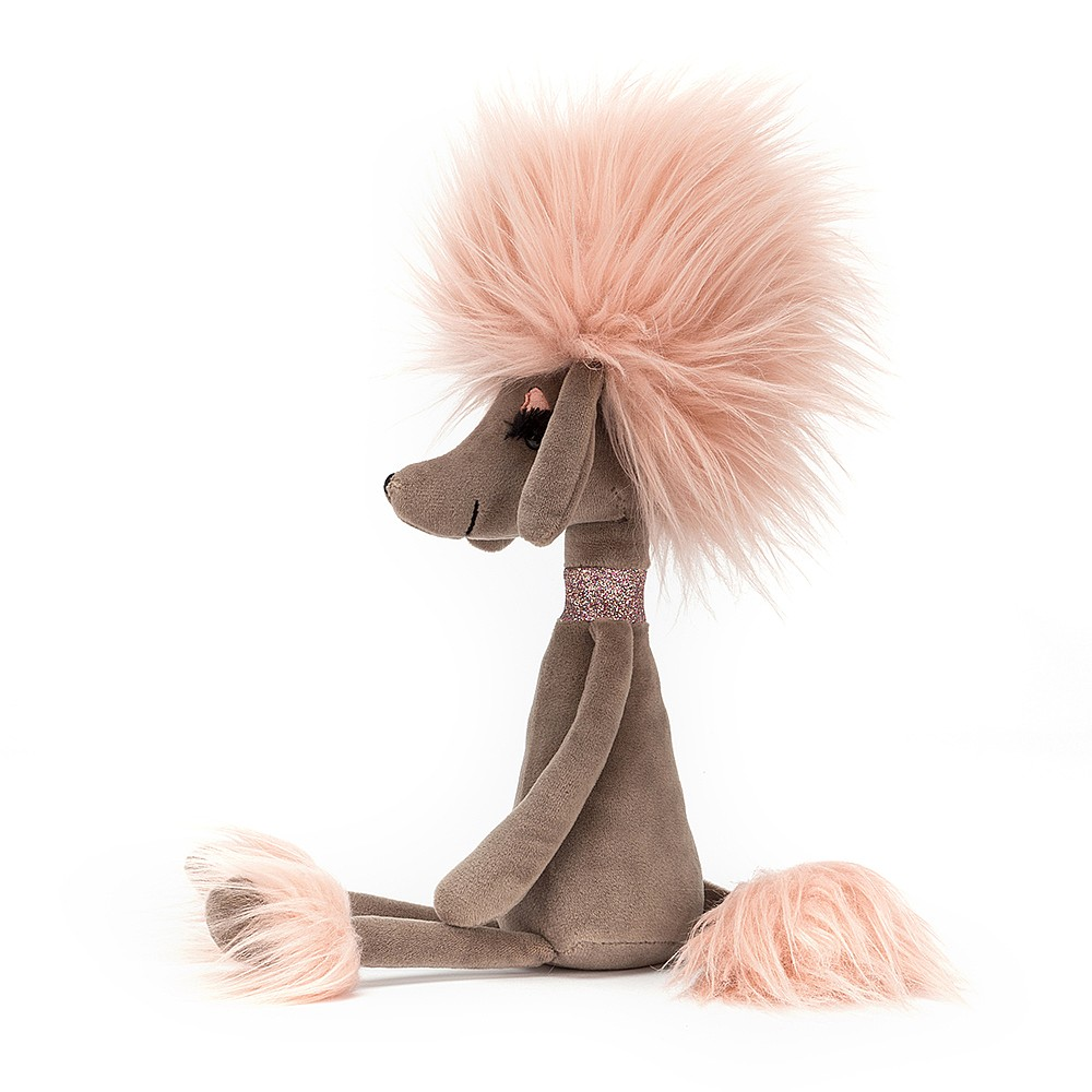Please welcome Swellegant Penelope Poodle! This mocha sweetie's dressed up to the nines and even her eyes are on point! Her candyfloss hair, wrist cuffs and bootie covers all look divine on her cocoa fur. She's even wearing her sparkly pink collar! Take a sashay with Penelope and waggle those ears!