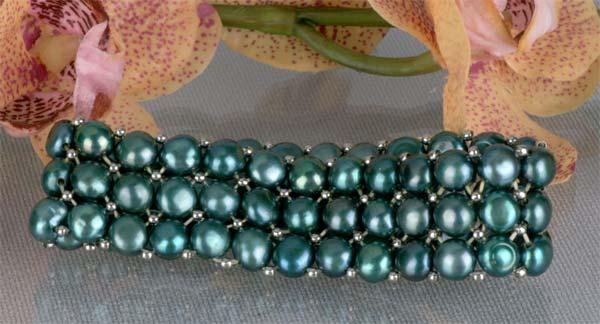Zuchtperlenarmband 3-Reihig Grün
