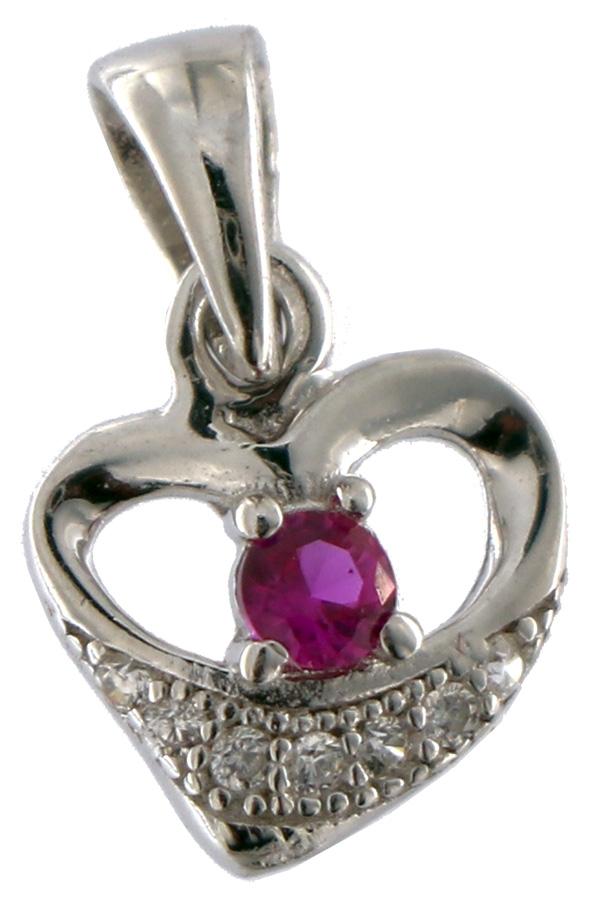 Anhänger Herz Silber AHH01 - 925 Sterling Silber - mit Strass Stein in Pink Vorne