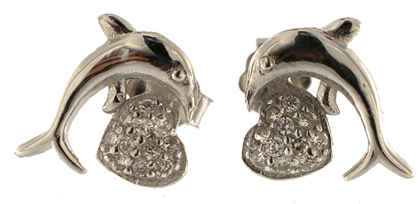 Ohrstecker Delphin Silber OSDSS01 - 925 Sterling Silber - mit Strass SteinenVorne Oben