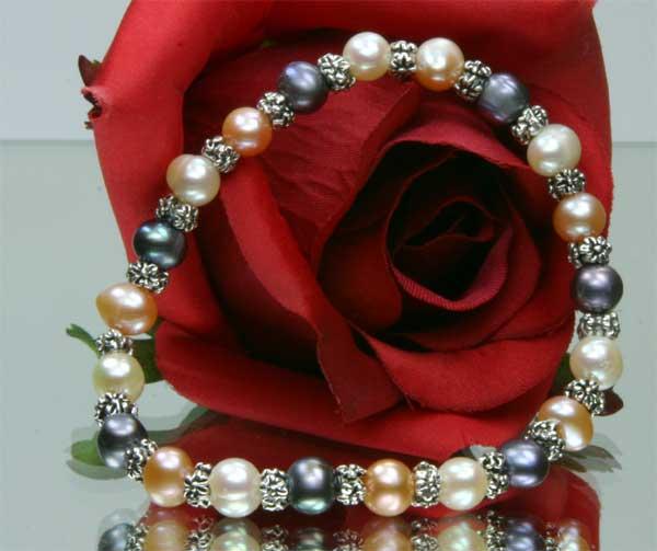 Armband aus 3-er Perlenset Kette Ohrringe Armband 3-Farbig