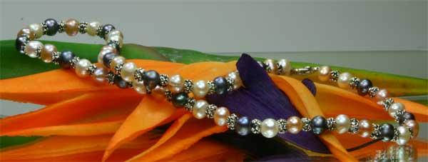 3-er Zuchtperlenset Armband Halskette Ohrringe 3-Farbig