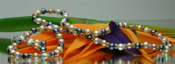 Perlenset Collier Armband Ohrringe 3-er Set 3-farbig
